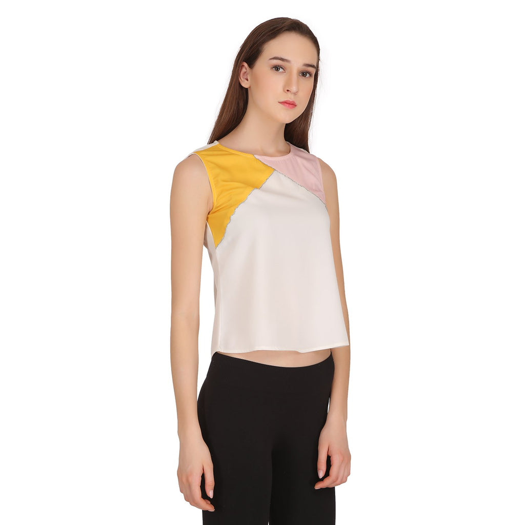 Madame Women Off-White Textile Top