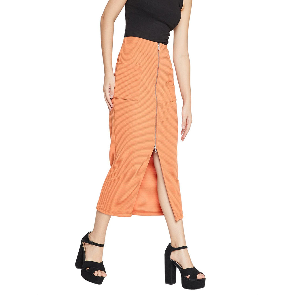 Madame Women Orange Solid Skirt