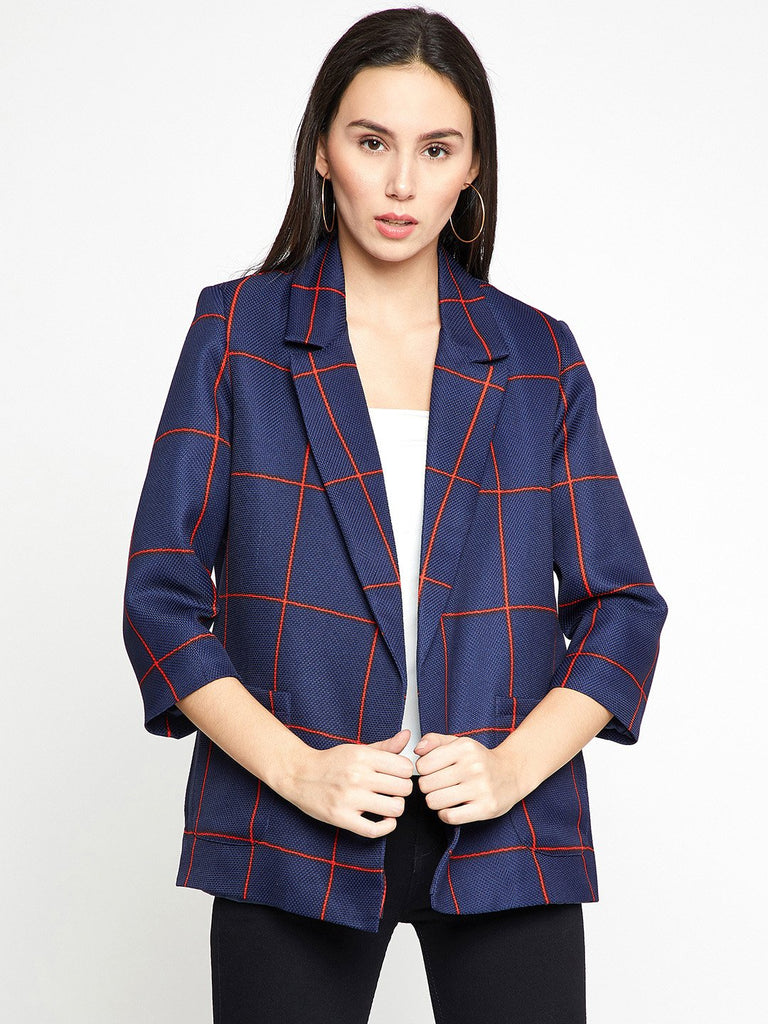 Madame Navy & Red Checked Single-Breasted Front Open Casual Blazer