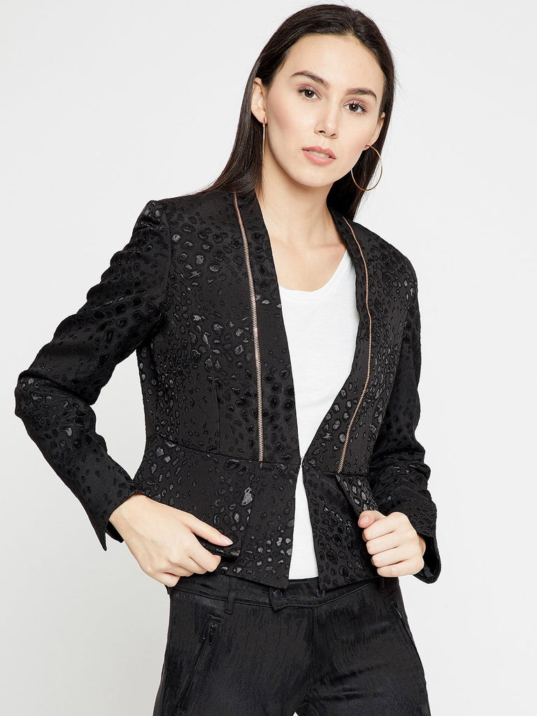 Madame Black Woven Design Single-Breasted Casual Blazer