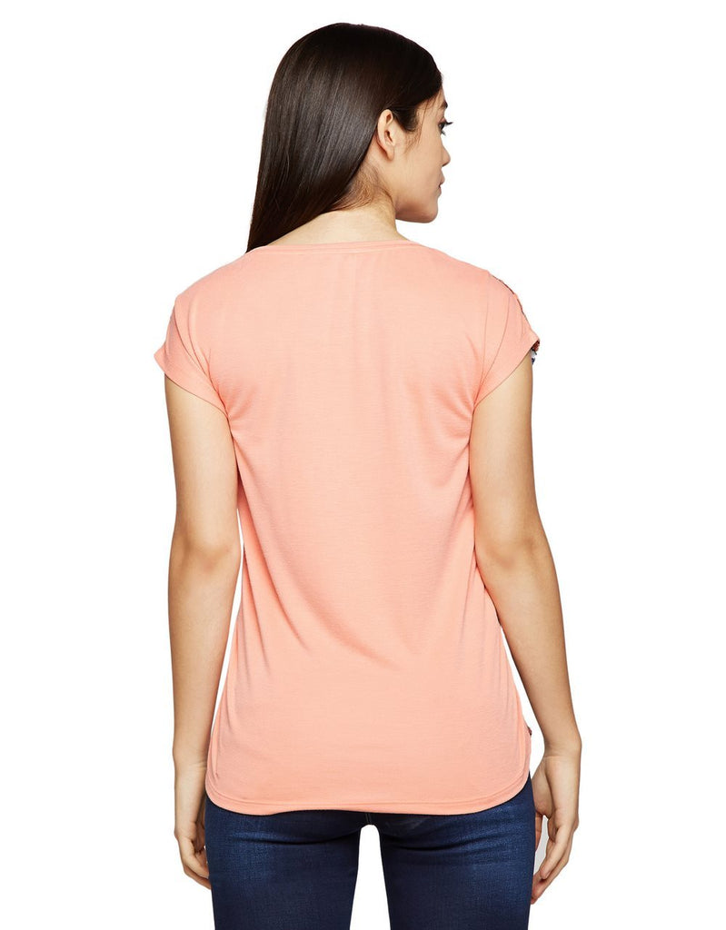 Madame Women Peach-Coloured Printed Top