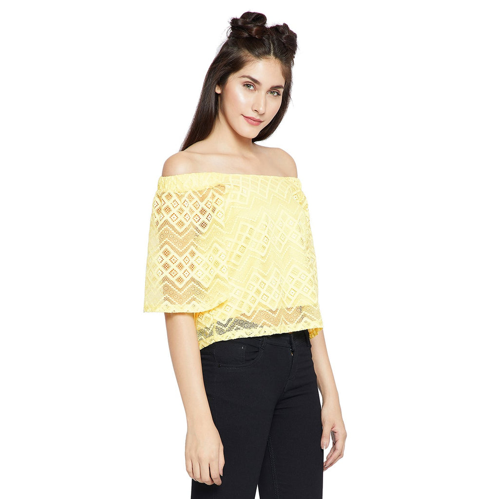 Madame Women Yellow Self-Design Bardot Top