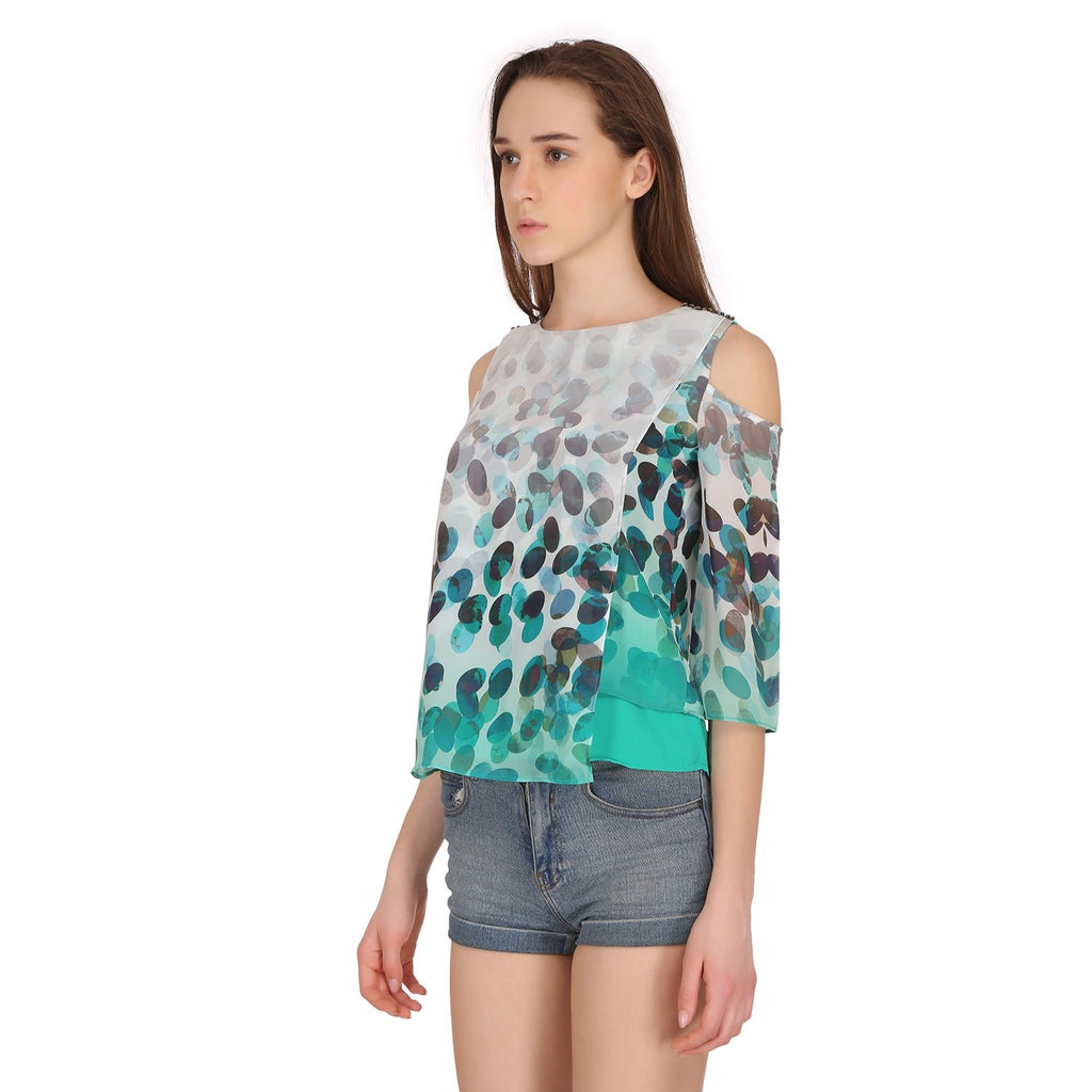 Madame Women Cold Shoulder Printed Top