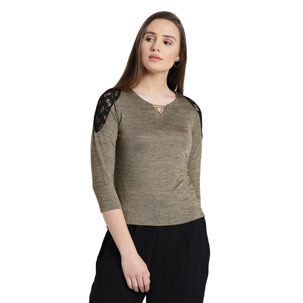Madame Womens Gold Top F/S