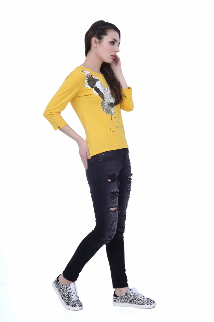 Madame Women Yellow Printed Top