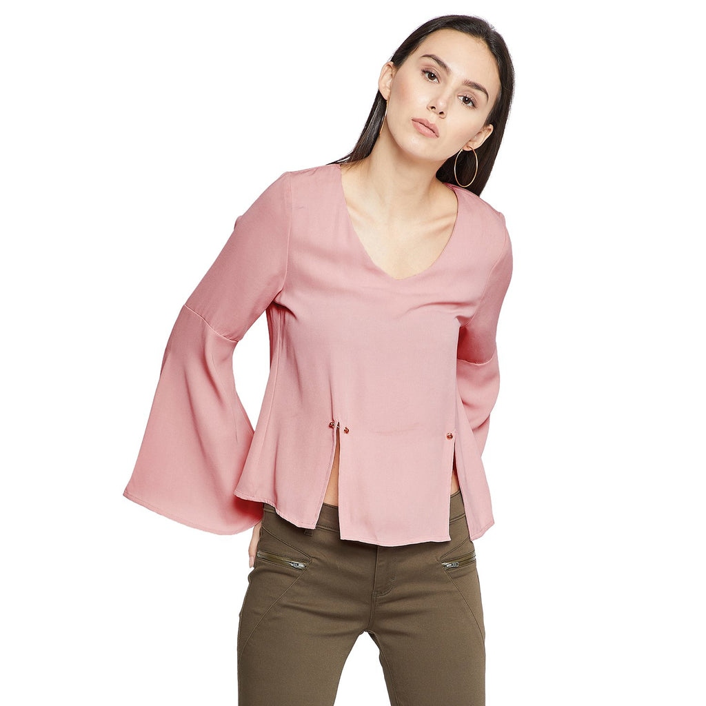 Madame Womens Dusty Pink Textile Top