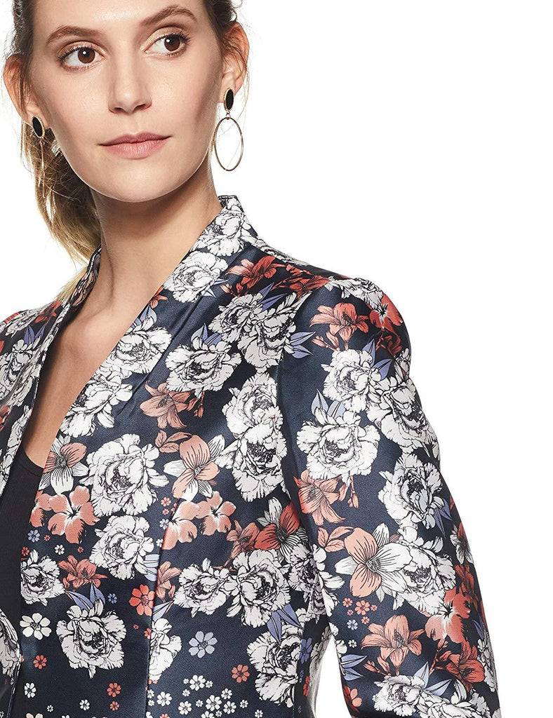 Madame Navy & Off-White Floral Print Single-Breasted Blazer