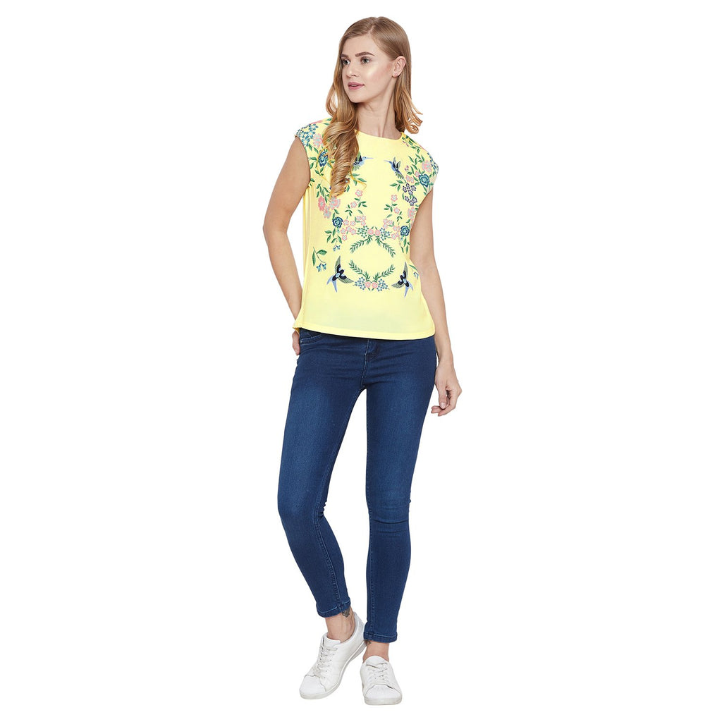 Madame Yellow Half Sleeve Top
