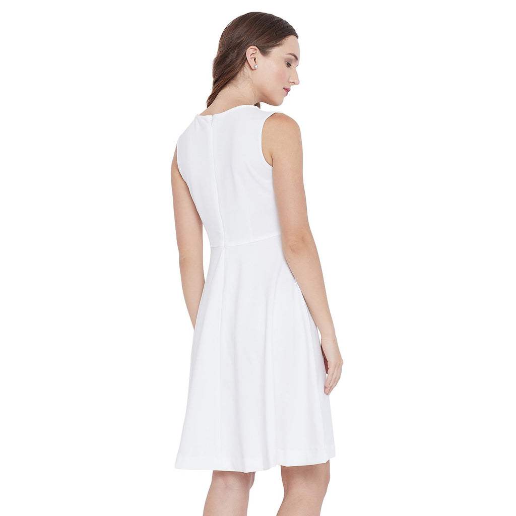 Madame White Solid Dress
