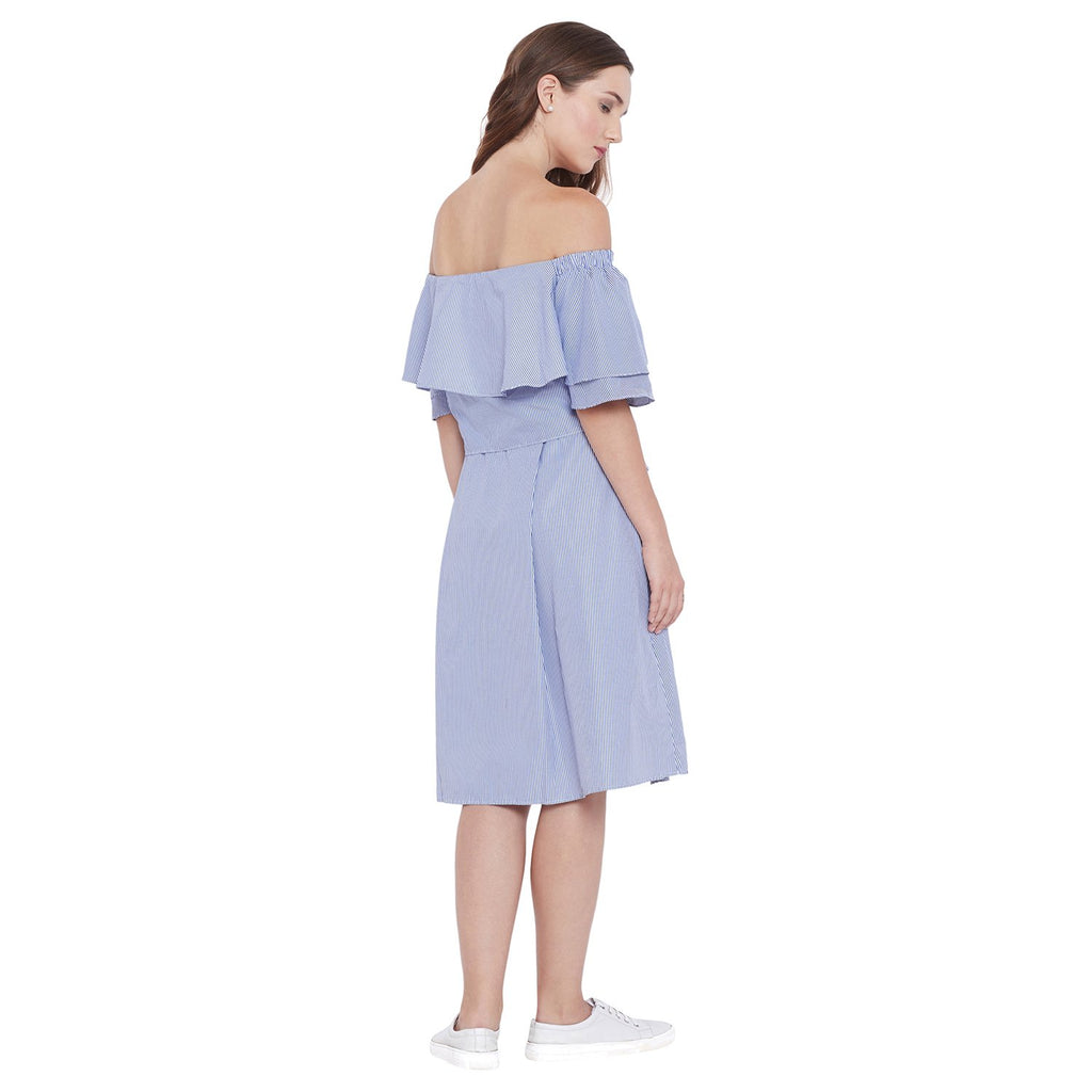 MADAME Off Shoulder Blue Dress