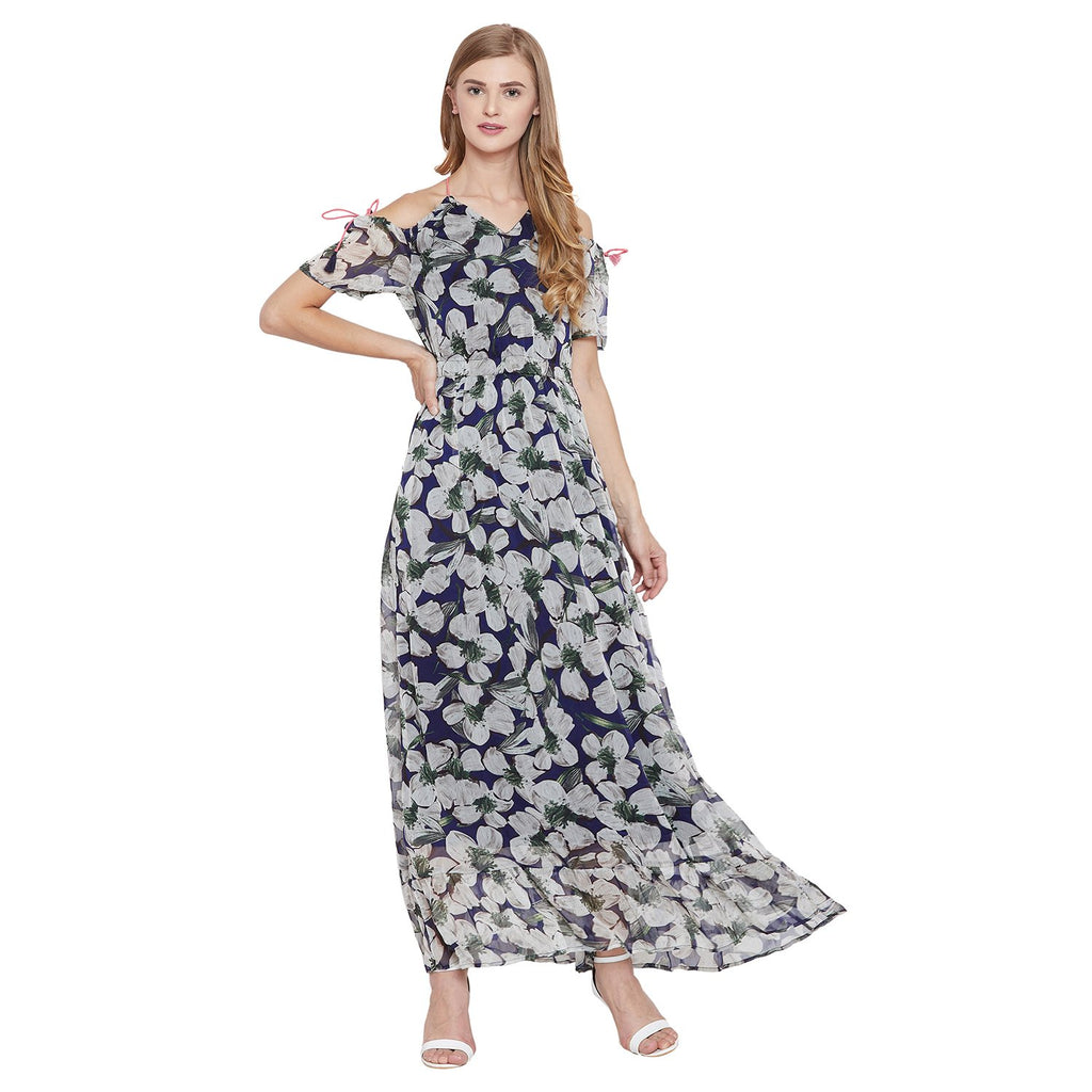Madame Navy Printed Dress