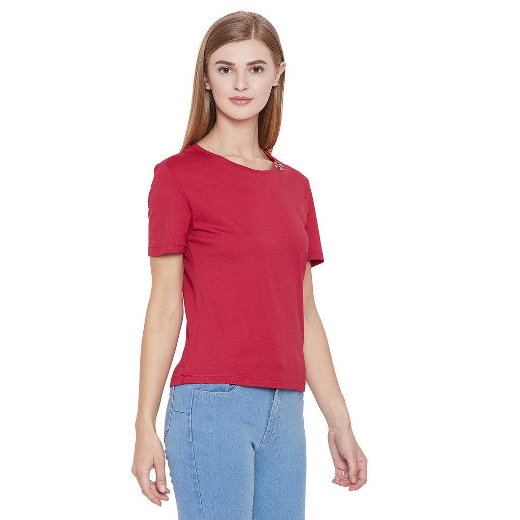 Madame Red Solid Top H/S