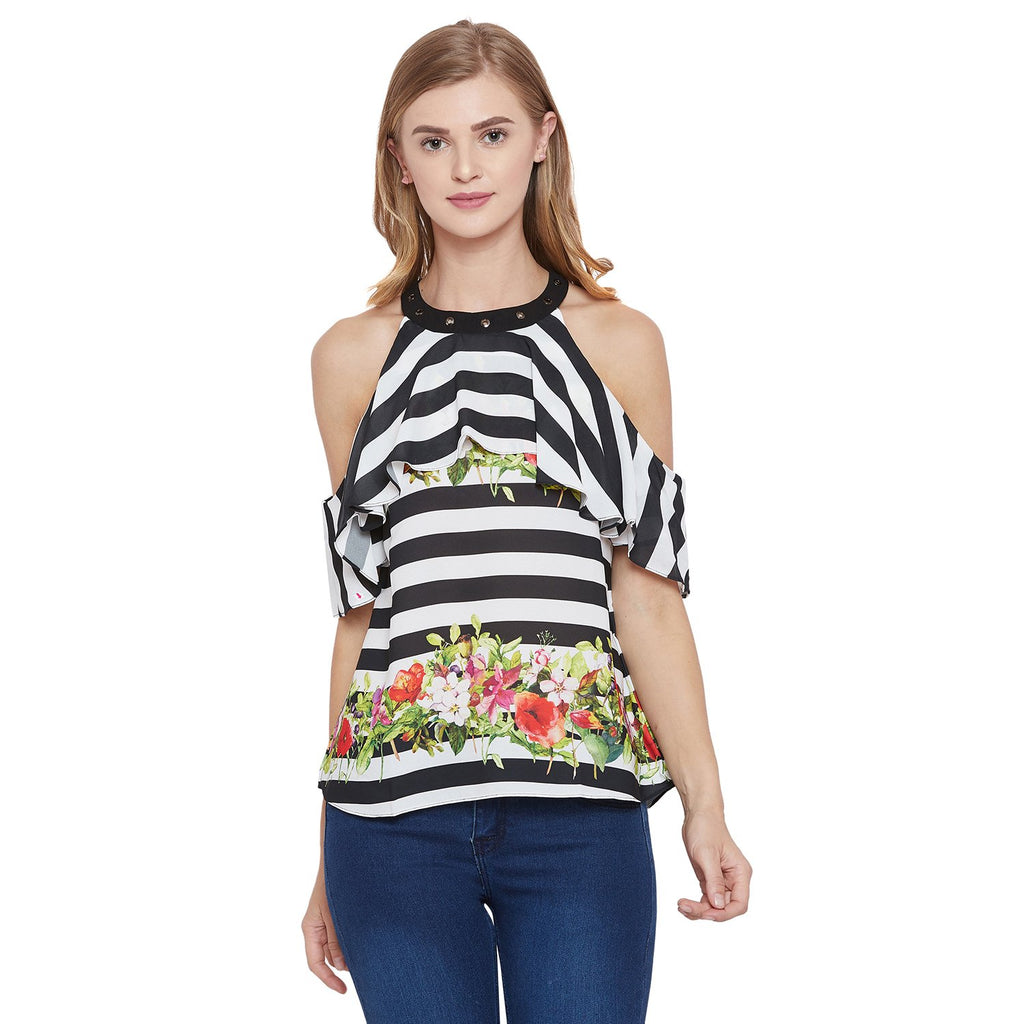 Madame Black Printed Textile Top