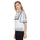 Madame White Embroided Textile Top