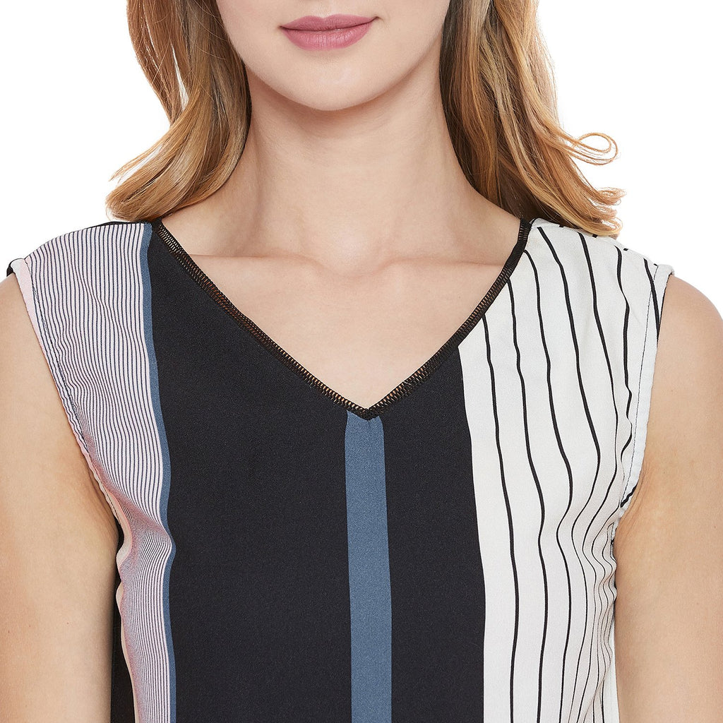 Madame Black Color Block Textile Top