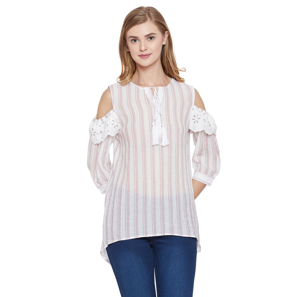 Madame Pink Solid Textile Top