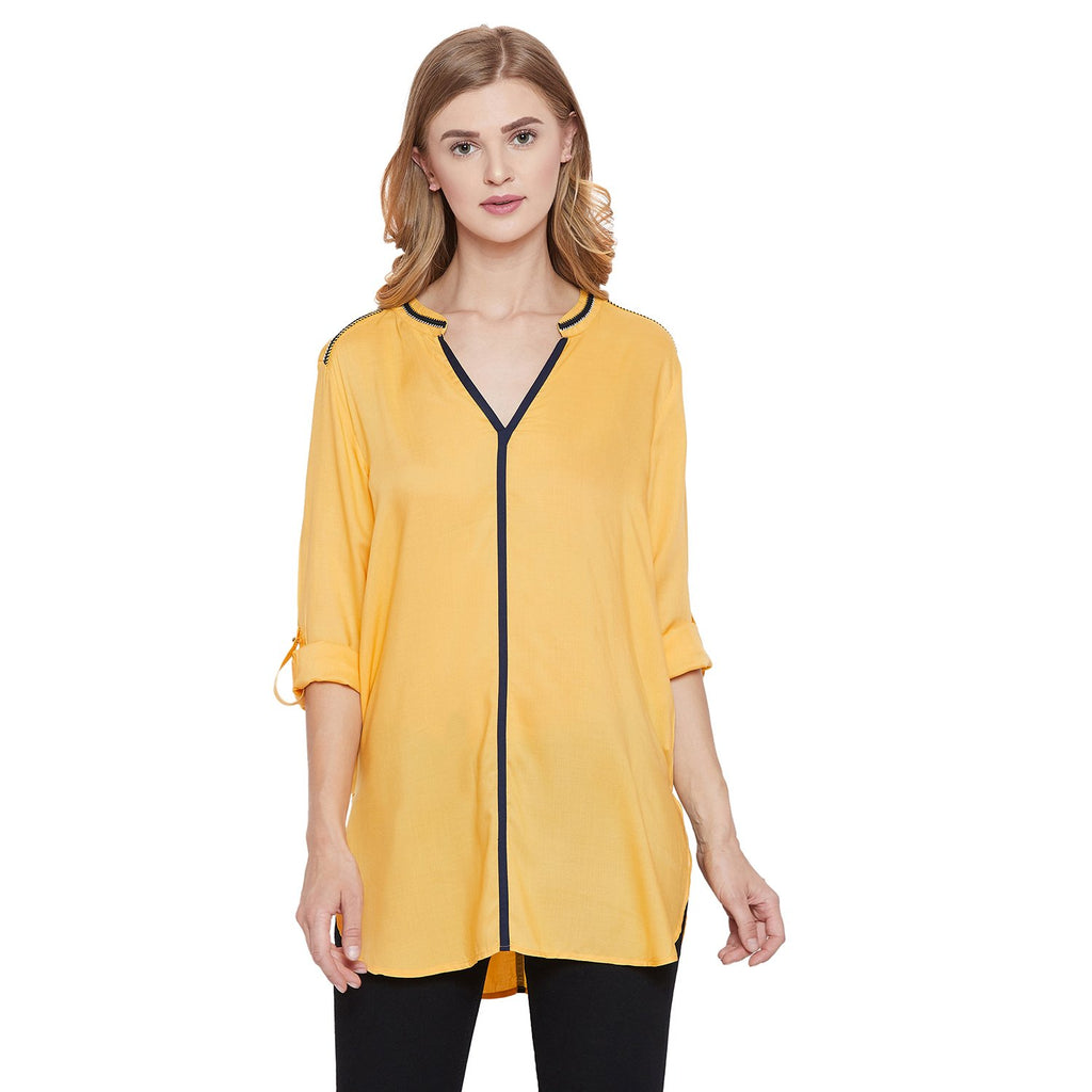 Madame Mustard Solid Textile Top
