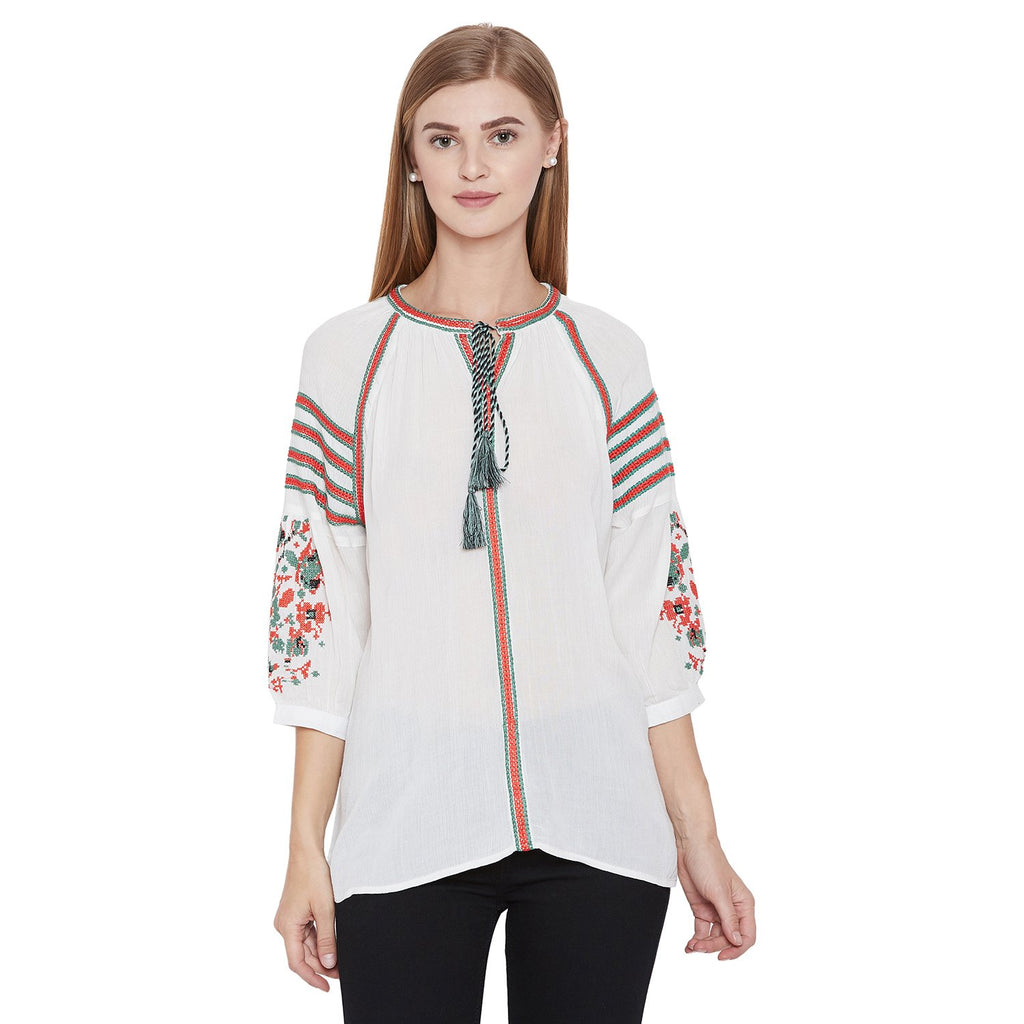 Madame off White Solid Textile Top