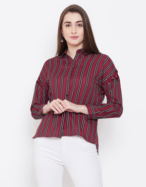 Madame Women Maroon & Black Striped Casual Shirt