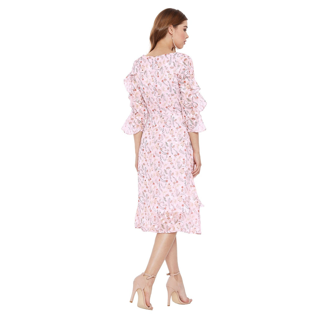 Madame Pink Floral Printed Dress