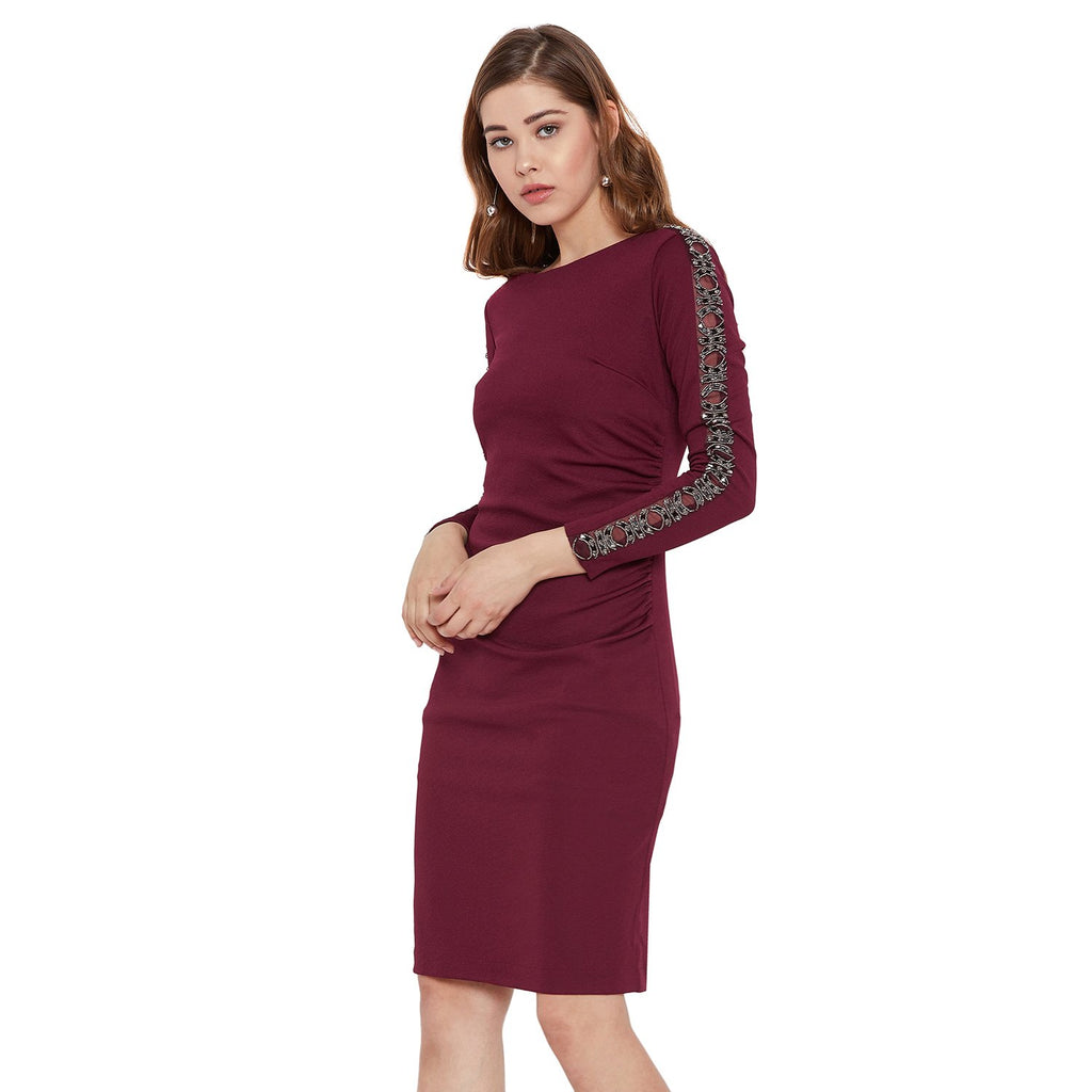 Madame Wine Solid Dress