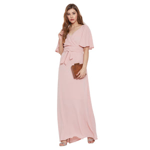 Madame Peach Solid Dress