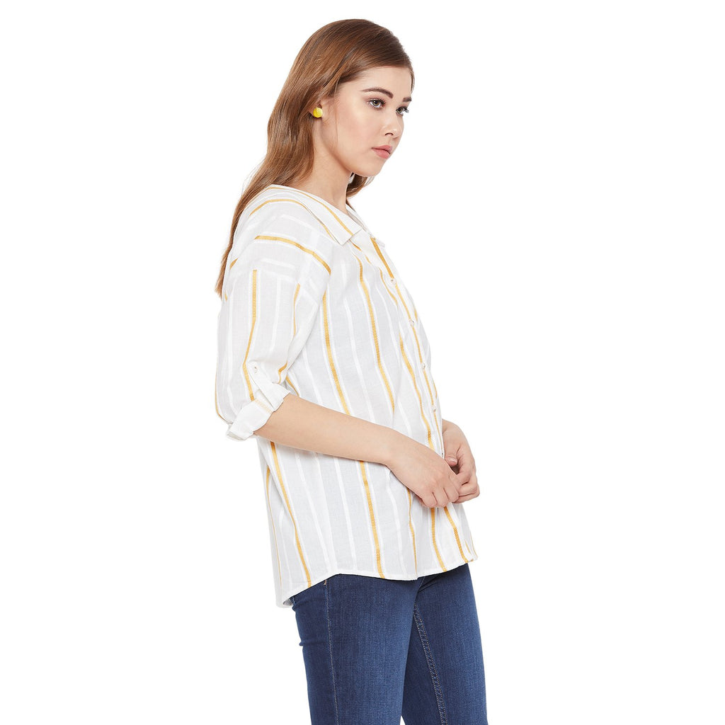 Madame Off White Solid Shirt