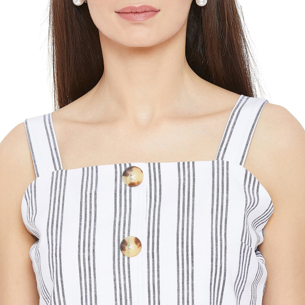 Madame White Casual Textile top