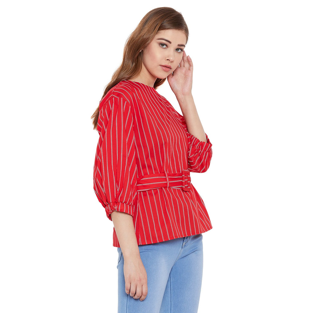 Madame Red Solid Textile Top