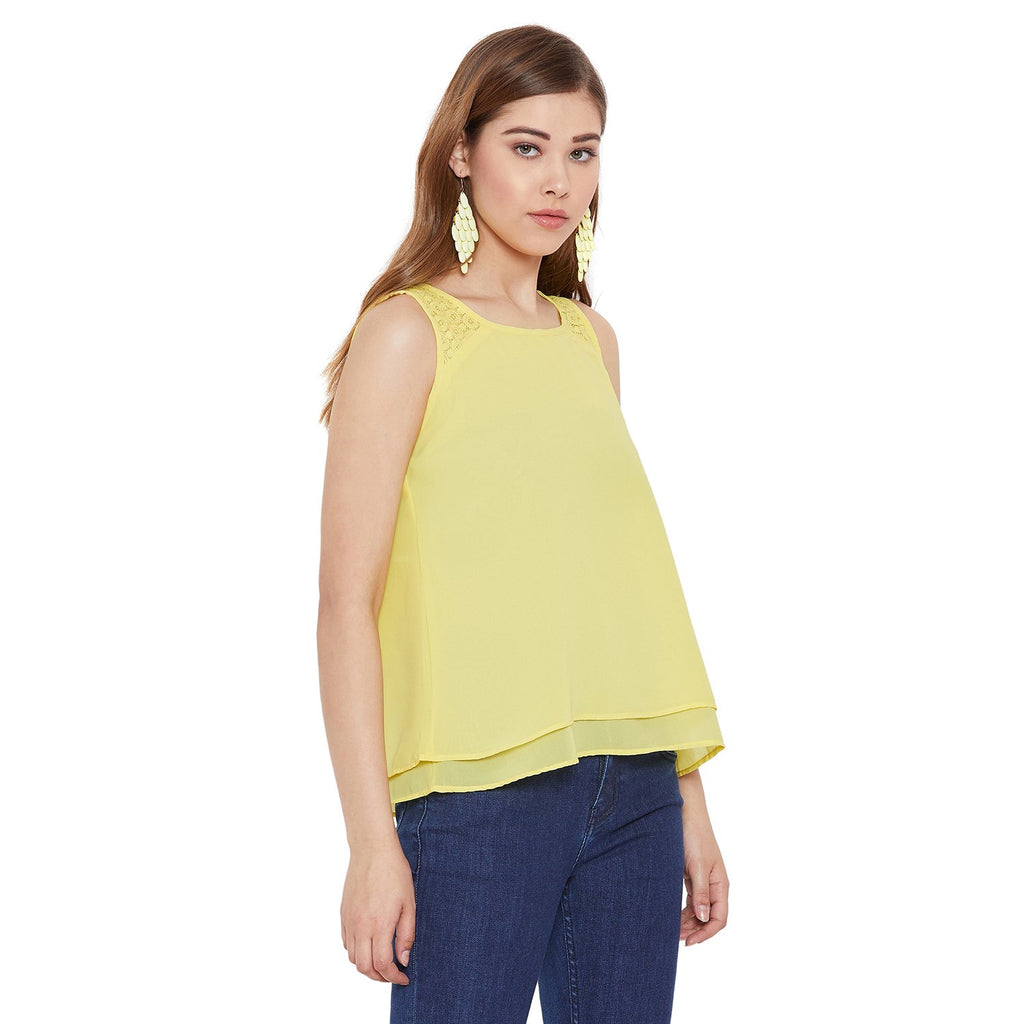 Madame Yellow Solid Textile Top