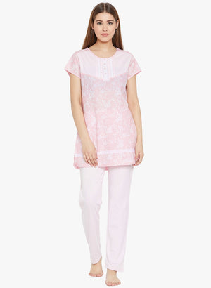 MSecret Pink Printed Night Suit