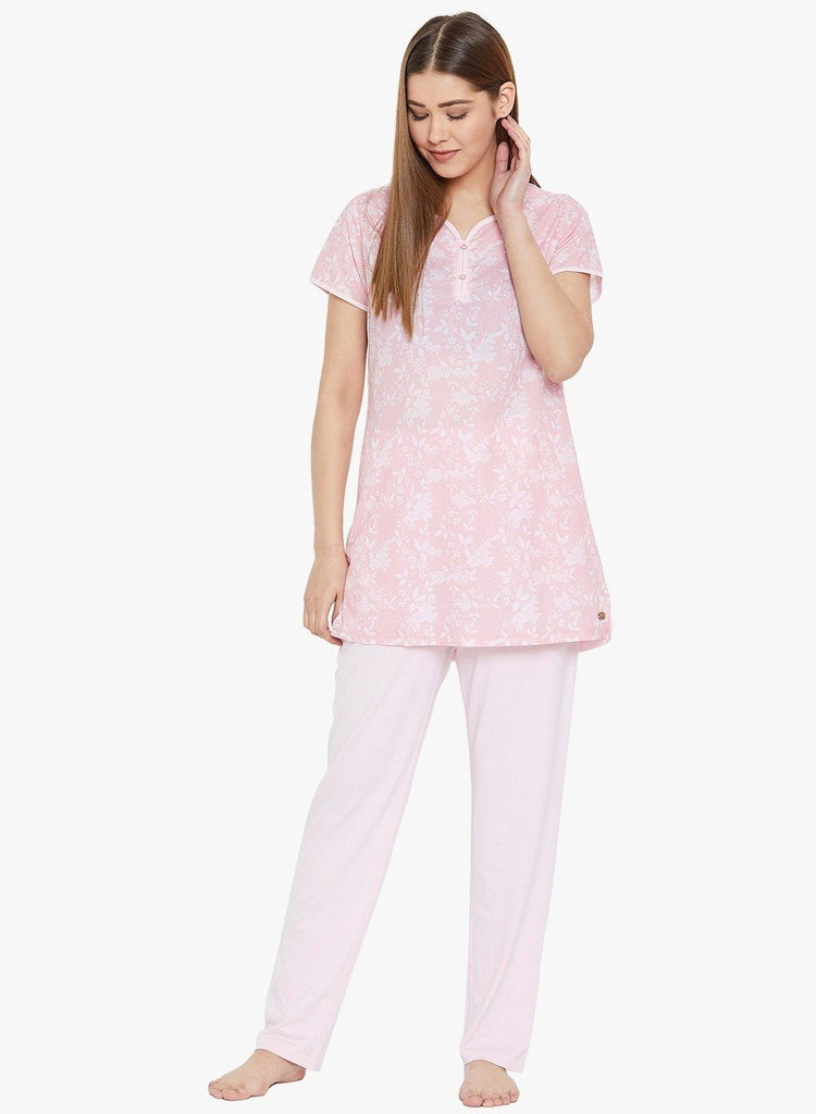 Pink Printed V Neck Pyjama Night Suit