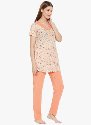 Orange Printed V-Neck Pyjama Night Suit