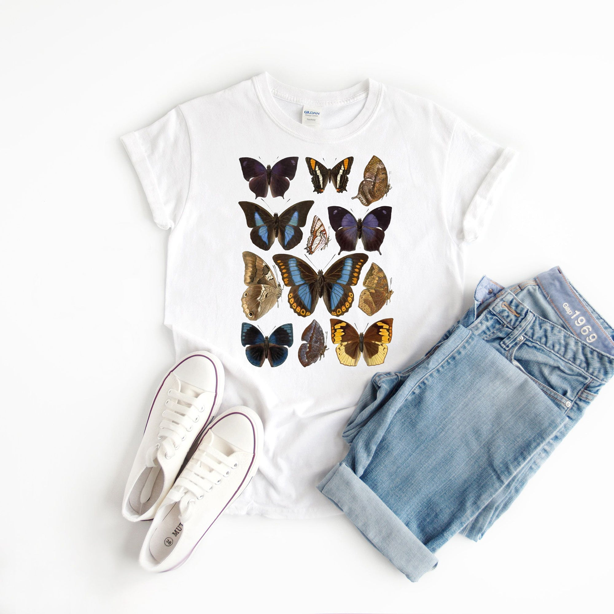 Vintage Botanical Butterfly Species T-Shirt