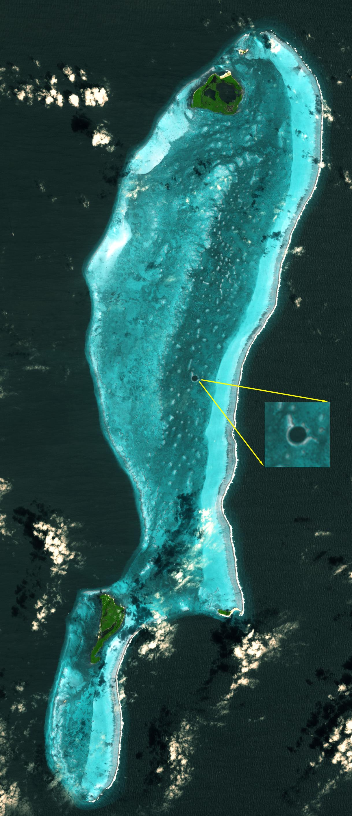 great blue hole belize sinkhole aster nasa satellite image