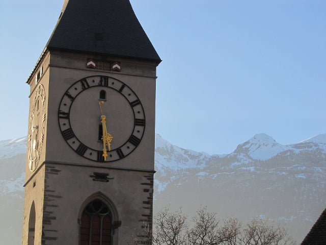 scenery chur clock tower alps glacier express