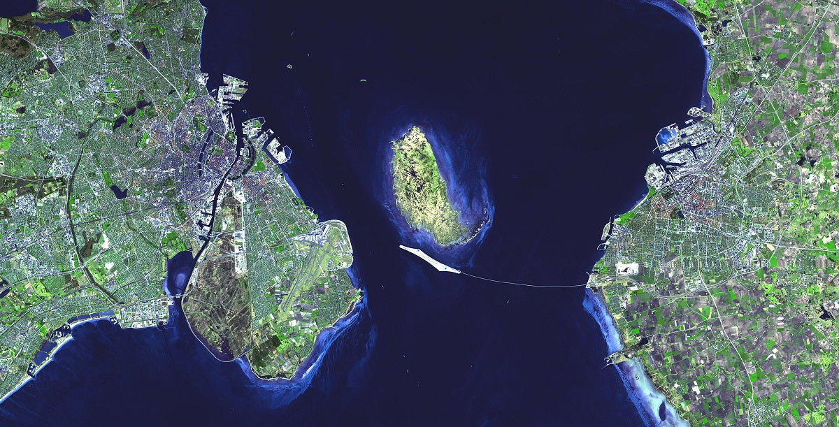oresund bridge strait denmark sweden nasa aster satellite image