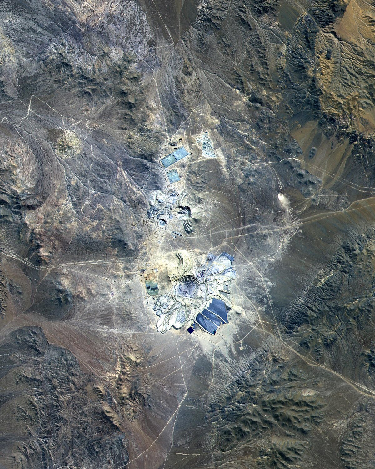 escondida mine chile atacama desert nasa aster satellite image