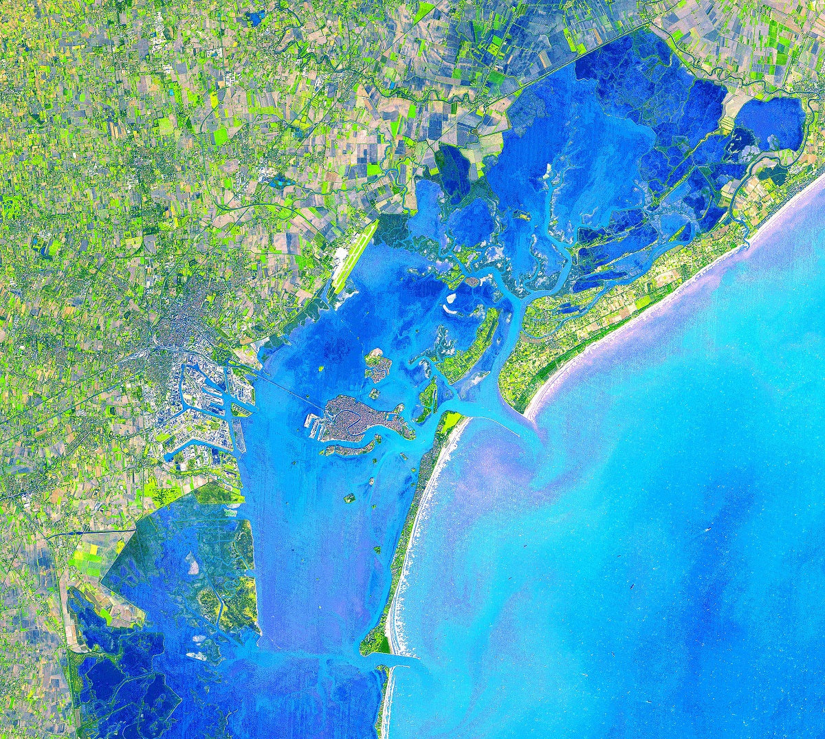 Venice NASA satellite image canals Italy