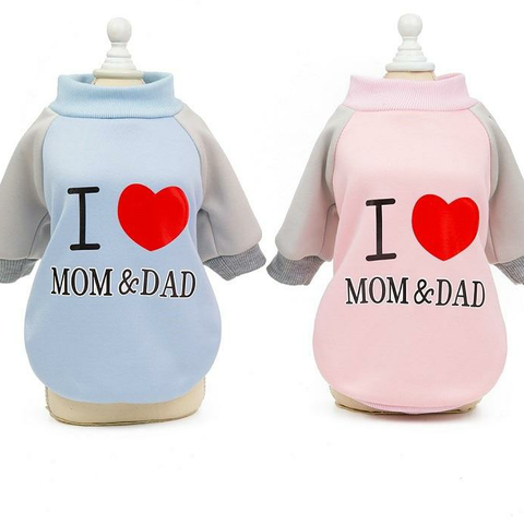 I Love MOM&DAD print warm T-shirt