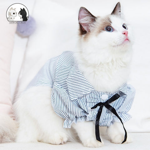 Cats Striped Elegant Bow Shirt