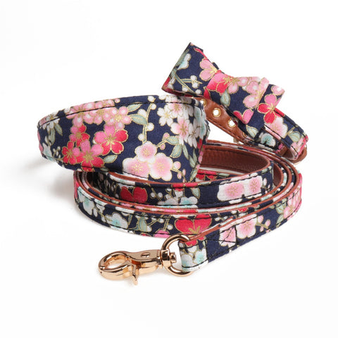 Floral Print Bowknot Leather Collar and Leash