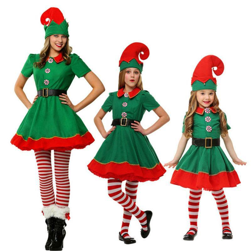 Christmas Costumes Parent-Child Elves Cosplay Suits