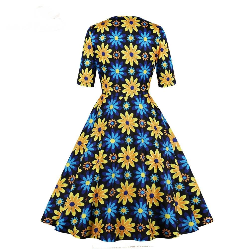 Vintage Half Sleeve Floral Dress