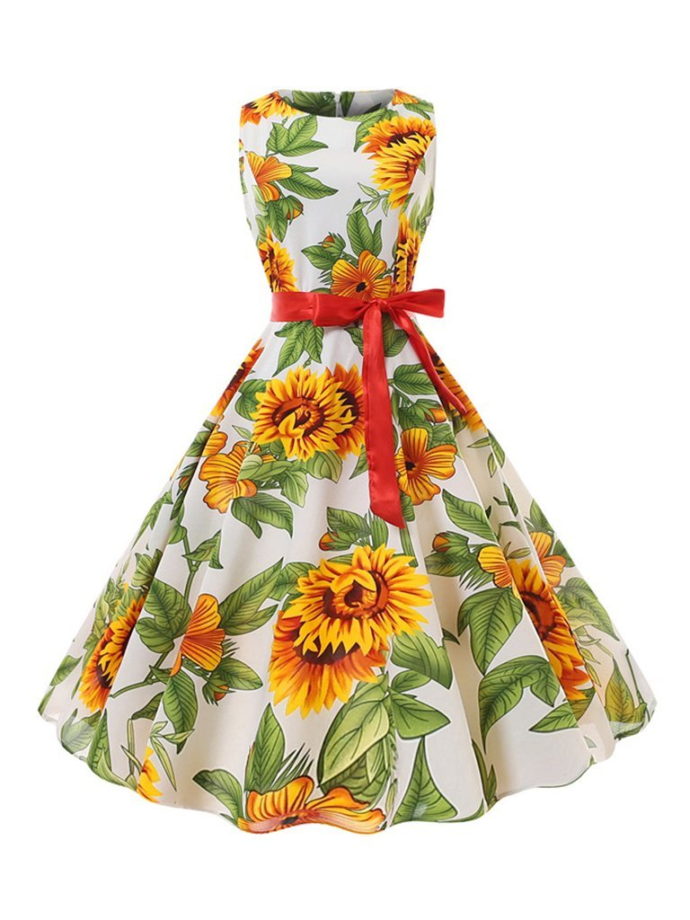 1950s Dress Sunflower Print Elegant A-Line Dresses