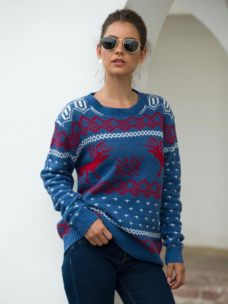 Christmas Sweater Casual O Neck Deer and Snow Print Knit Pullover