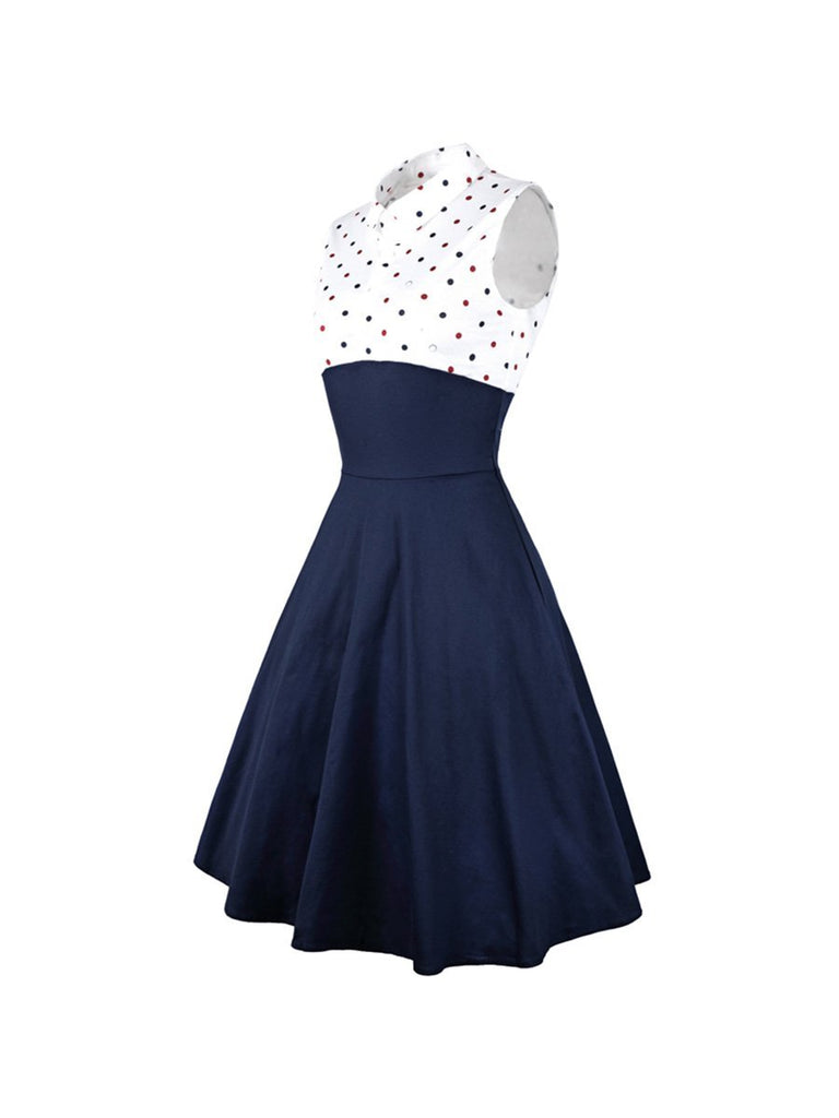 1960s Elegant Dress Polka Dot Printed Two Pieces Set Dress
