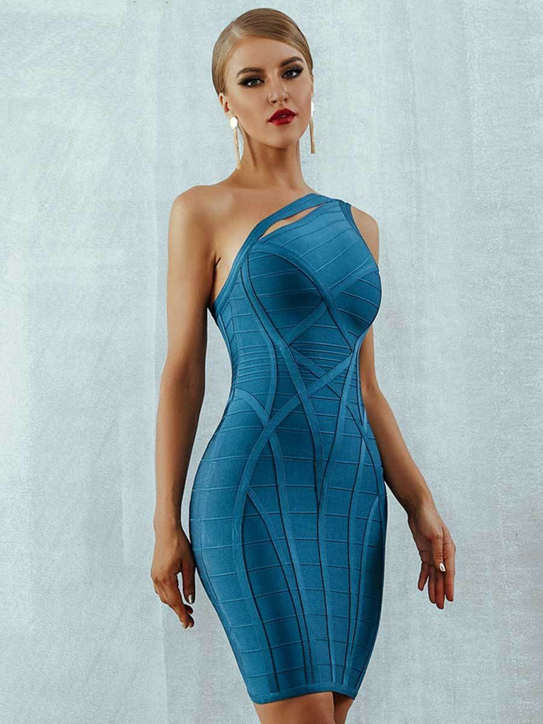 Hollow Out One Shoulder Bodycon Bandage Dress