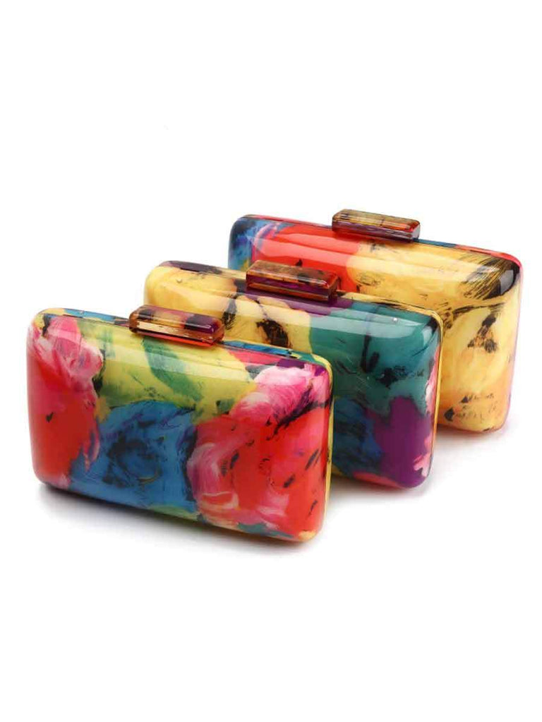 Acrylic Clutch Bag Colorful Printing Random Pattern Bag