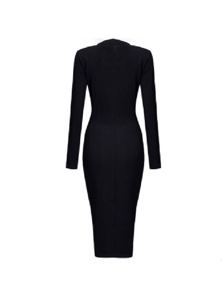 Women Dress Elegant Lapel Plain Pockets Bodycon Dress